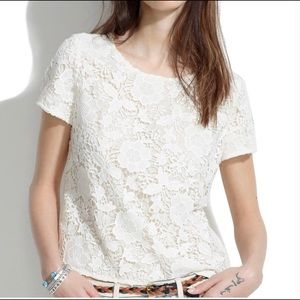 Madewell | White Lace T Shirt